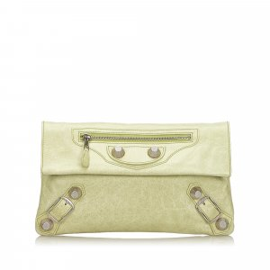 Balenciaga Clutch pale green leather