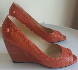 Balenciaga Tacones con punta abierta naranja Cuero