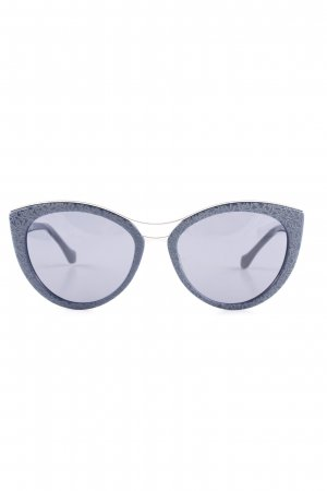 Balenciaga Oval Sunglasses dark blue-silver-colored abstract pattern casual look