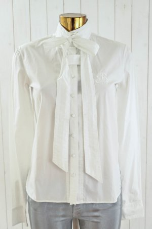 BALENCIAGA PARIS Damen Bluse Weiß Klassisch Schleife Stickerei Baumwolle Gr.38