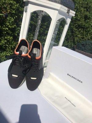 Balenciaga Zapatilla brogue negro-naranja