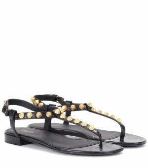 Balenciaga Strapped Sandals black-gold-colored leather
