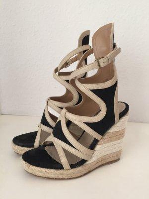 Balenciaga Sandalen Schwarz Beige Plateau Keilabsatz Textil Leder Sandals 36 TOP