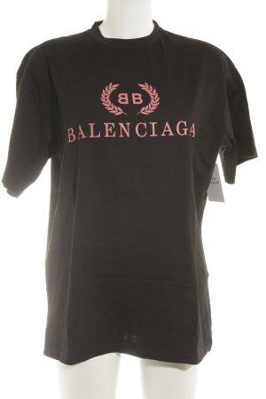 Balenciaga T-Shirt schwarz-hellrot Schriftzug gedruckt Casual-Look