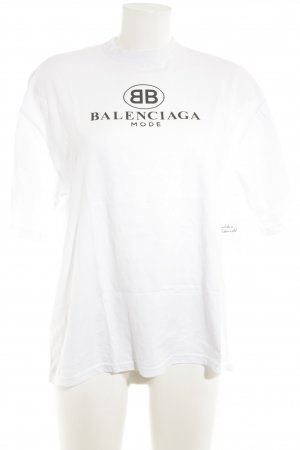 Balenciaga T-Shirt weiß-schwarz Schriftzug gedruckt Casual-Look