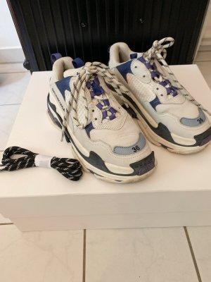 Balenciaga Basket à lacet blanc-bleu