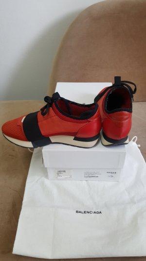Balenciaga High top sneaker neonrood Leer