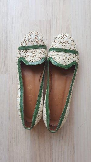 Balerina weiß grün Leder