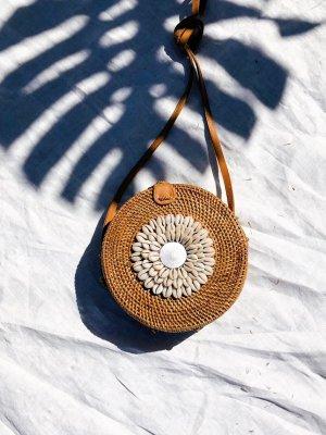 Bolso tipo cesta blanco-marrón madera