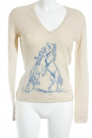 Ballantyne Pullover in cashmere beige-blu stile classico