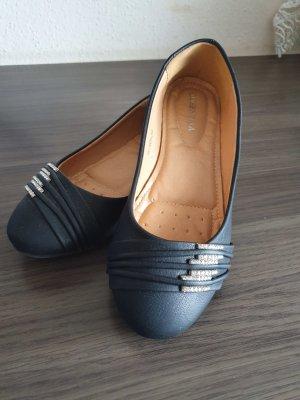 Queentina Peep Toe ballerina's zwart