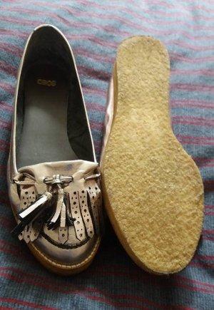 Asos Ballerinas silver-colored leather