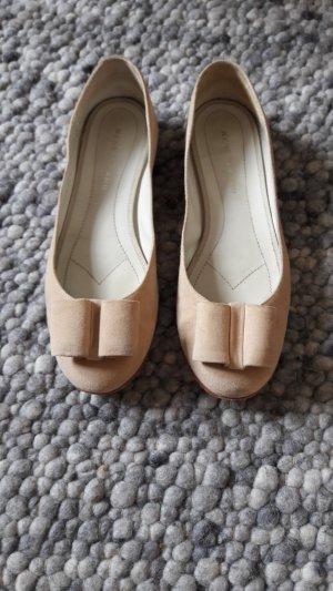 René Lezard Ballerinas cream suede