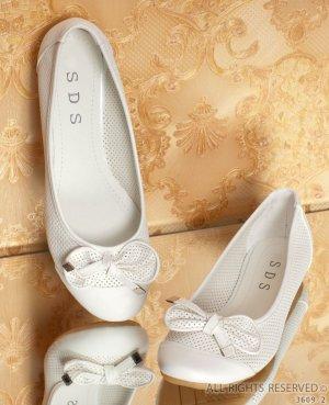 Ballerina creme beige Lochmuster mit Schleife Sommerschuhe Hochzeit Gr 37