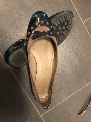 Unisa Ballerina di pelle verniciata blu scuro-marrone chiaro