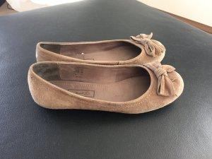 Ballerina Gr. 38 Schleife beige taupe Wildleder