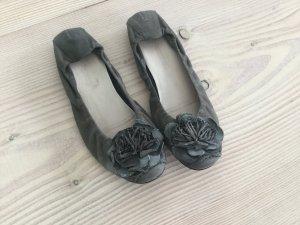 Ballerina Kennel & Schmenger Gr. 7  entspricht 40,5 grau mit Blume Mules Slip on Loafer