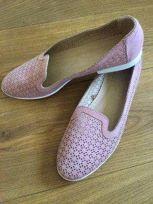 Ballerina Loafer Slipper rosa weiß Gold Gr. 40 neuwertig wNEU!