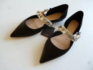 Zara Woman Ballerines à lacets noir coton