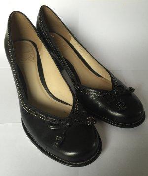 Ballerina-Pumps aus schwarzem Leder - von Clarks (Gr. 6,5 = 40)