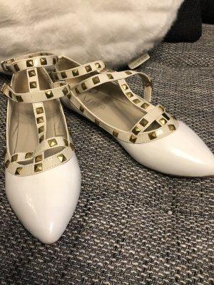 Sandalo con cinturino e tacco alto bianco-oro