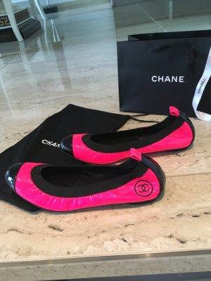 Chanel Bailarinas rosa neón-negro