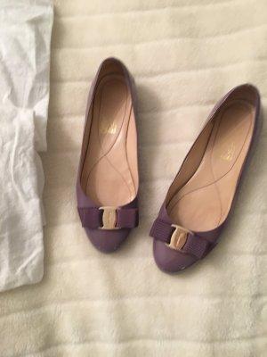 Salvatore ferragamo Patent Leather Ballerinas purple leather