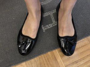 Ballerina di pelle verniciata nero