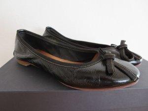 Ballerina schwarz Schleifchen Leder