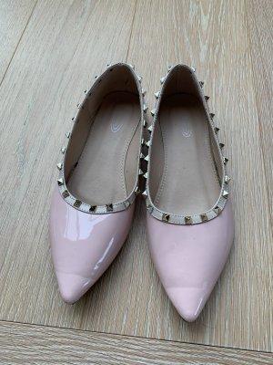 Ballerina di pelle verniciata rosa pallido