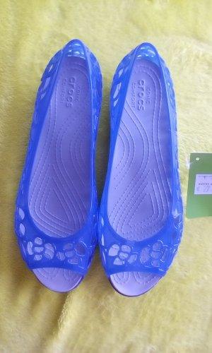 Crocs Ballerines à bout ouvert bleu fluo matériel synthétique