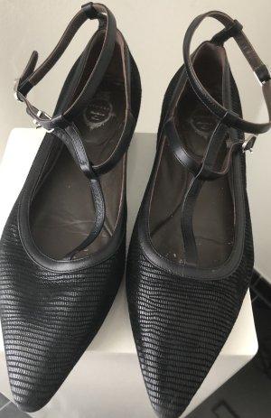 Unützer Ballerina's met bandjes zwart-zilver