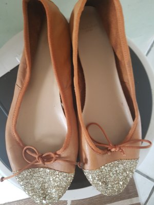 Zara Ballerinas with Toecap gold-colored-light brown