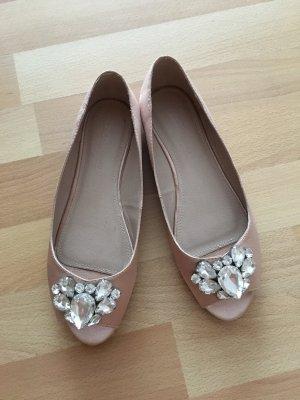 Asos Peep Toe Ballerinas dusky pink