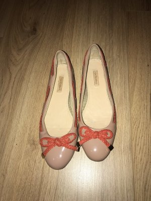Lakleren ballerina's beige-zalm