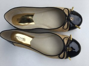 Michael Kors Patent Leather Ballerinas black-cream textile fiber