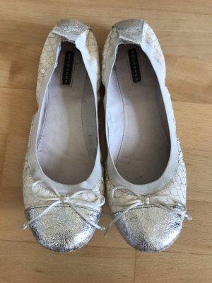 Ballerinas Belmondo Gr 41 weiß Silber metallic