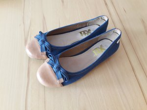 Ballerinas blauer Stoff/Kombi hellbraun