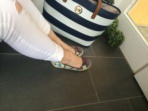 Ballerinas Blümchen Braun blau weiß