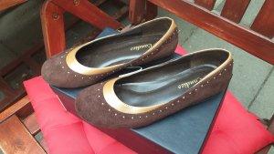 Slingback Ballerinas cognac-coloured-dark yellow imitation leather