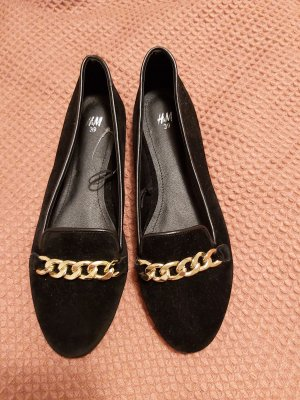 H&M Ballerinas with Toecap black-gold-colored imitation leather