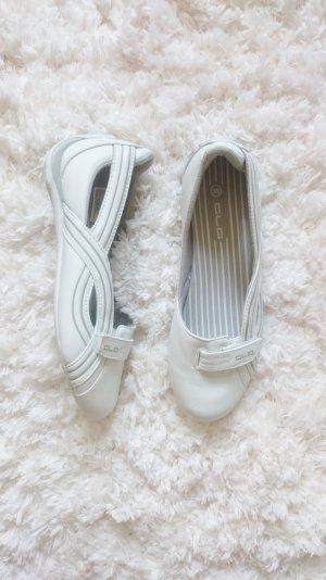 Ballerinas Halbschuhe Turnschuh sportlich weiß grau 38