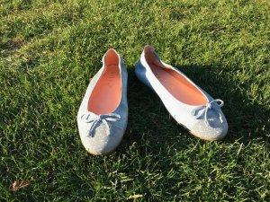 Ballerinas, hellblau/silber, Glitzer/Metallic, Gr. 35, Unisa