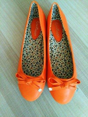 Slingback Ballerinas orange imitation leather