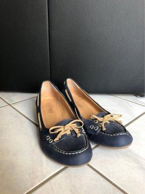 Street Super Shoes Patent Leather Ballerinas dark blue-beige