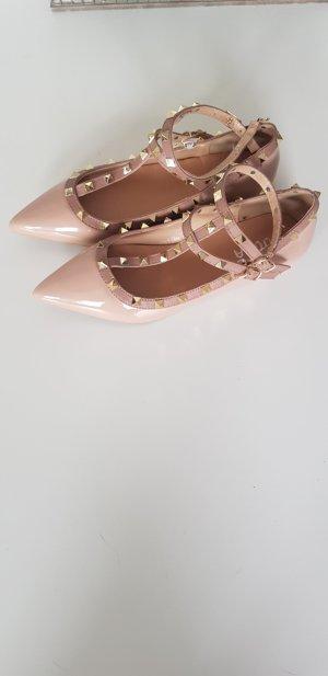 SheIn Ballerines à lacets rose chair-beige