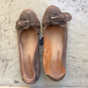 Ballerinas grey brown leather