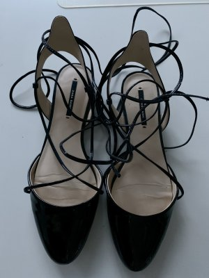Zara Patent Leather Ballerinas black imitation leather