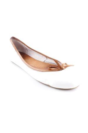 Ballerinas mit Spitze weiß-cognac Elegant