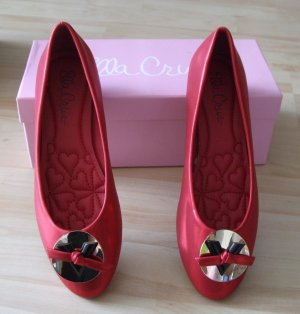 Ballerinas rot in Metallic-Optic